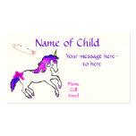 Tarjeta del perfil del unicornio de los niños tarjeta de visita