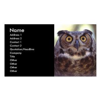 tarjeta del perfil o de visita, búho tarjetas de visita