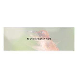 tarjeta del perfil o de visita, colibrí tarjeta de visita