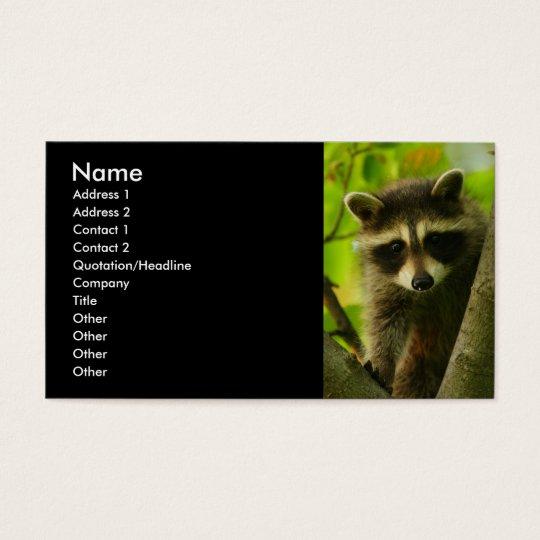 tarjeta del perfil o de visita, mapache tarjetas de visita