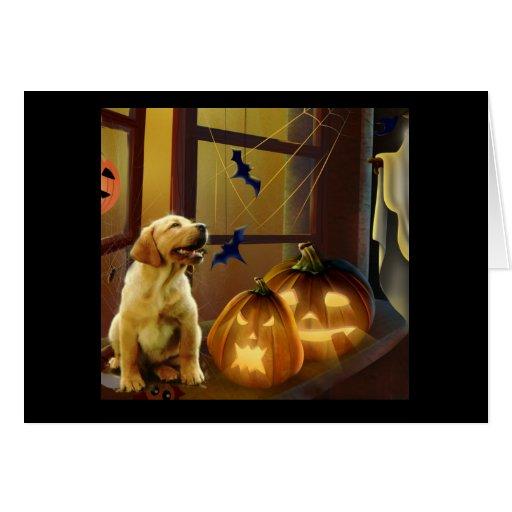 Tarjeta del perrito de Halloween del labrador retr