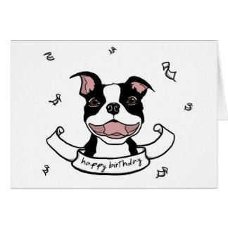 Tarjeta del perro de Boston Terrier del feliz cump
