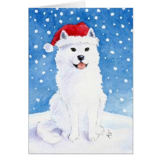 Tarjeta del perro de la nieve del samoyedo