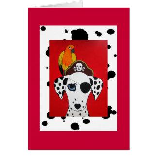 Tarjeta del perro y del loro del pirata de Dalmati