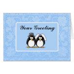 Tarjeta del pingüino de novia y del novio