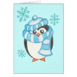 Tarjeta del pingüino del navidad