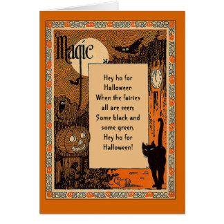 Tarjeta del poema de Halloween con el texto adapta