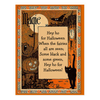 Tarjeta del poema de Halloween con el texto Postal