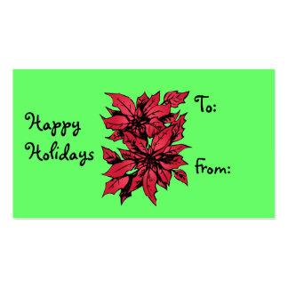 Tarjeta del Poinsettia del navidad Tarjetas De Visita