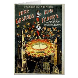 Tarjeta del poster del circo del vintage del KRW -