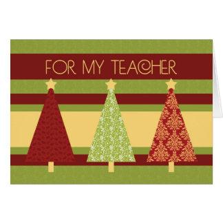 Tarjeta del profesor de los árboles de navidad bue
