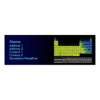 Tarjeta del químico con la tabla periódica tarjetas de visita mini