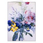 Tarjeta del ramo de la flor de Redoute del vintage