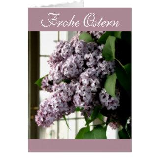 Tarjeta del ramo de la lila de Frohe Ostern