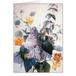 Tarjeta del ramo de la lila de Redoute