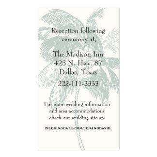 Tarjeta del recinto del boda de la palmera tarjeta de visita
