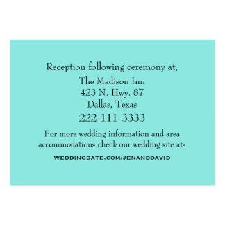 Tarjeta del recinto del boda del Aquamarine Tarjeta De Visita