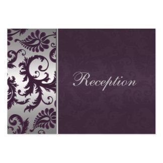 Tarjeta del recinto del damasco del gris púrpura y tarjetas de visita grandes