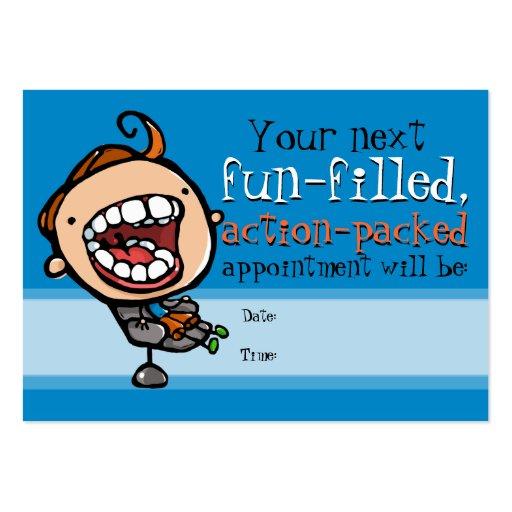 Tarjeta del recordatorio de la cita del dentista tarjetas de visita grandes