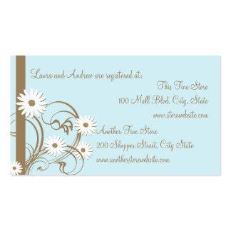 Tarjeta del registro de la ducha de la margarita tarjetas de visita