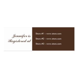 Tarjeta del registro de la fiesta de bienvenida al tarjetas de visita mini