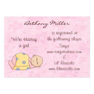 Tarjeta del registro de regalos del bebé el dormir tarjetas de visita grandes