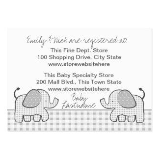 Tarjeta del registro de regalos del elefante de la tarjetas de visita grandes