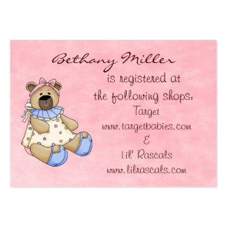 Tarjeta del registro de regalos del oso del bebé plantillas de tarjetas de visita