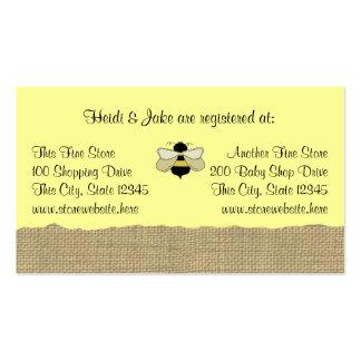 Tarjeta del registro del bebé de la abeja y de la  tarjetas de visita