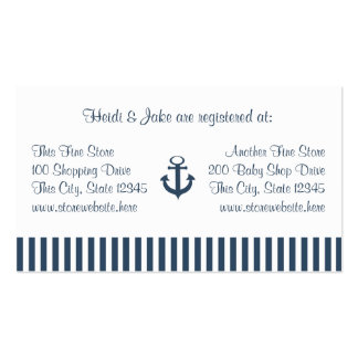 Tarjeta del registro del bebé de las rayas del anc tarjetas de visita