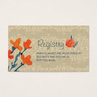 Tarjeta del registro del boda de la cosecha del tarjetas de visita