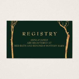 Tarjeta del registro del boda del árbol de abedul tarjetas de visita