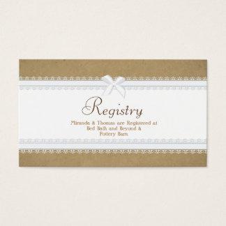 Tarjeta del registro del boda del cordón del país tarjetas de visita