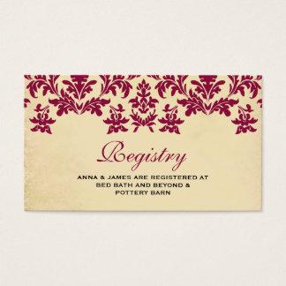Tarjeta del registro del boda del damasco del vino tarjetas de visita