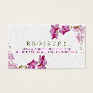 Tarjeta del registro del boda del paraíso de la tarjetas de visita