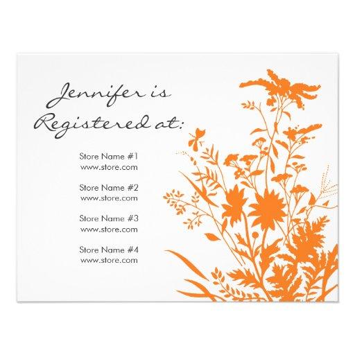 """Tarjeta del registro del Wildflower - 4,25"""" x 5,5"""" Invitaciones Personalizada"""