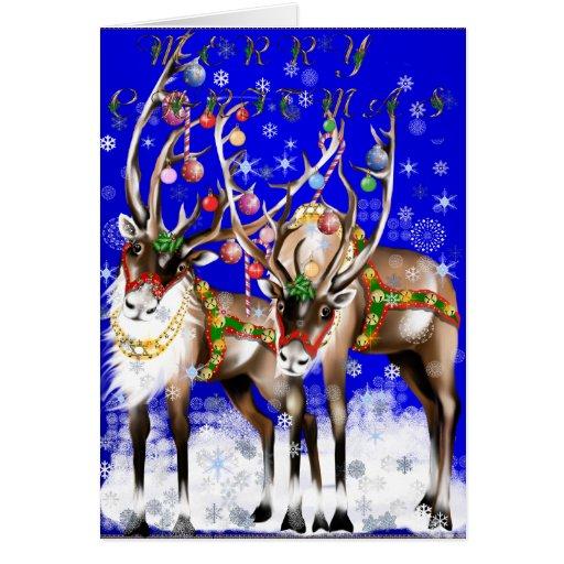 Tarjeta del reno de las Felices Navidad