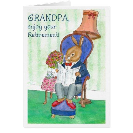 "Tarjeta del retiro del ""conejo"" para el abuelo"