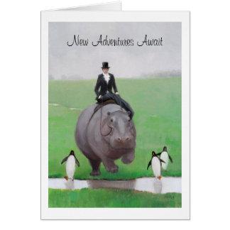 Tarjeta del retiro del hipopótamo y de los