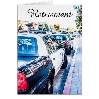 Tarjeta del retiro del oficial de policía