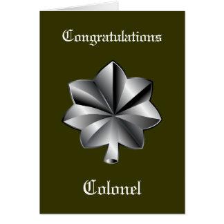 Tarjeta del retiro del Teniente Coronel