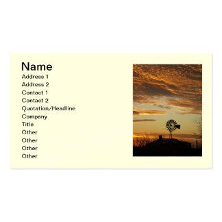 Tarjeta del retrato de la puesta del sol del molin tarjetas de visita