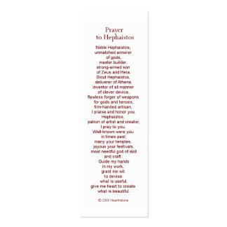 Tarjeta del rezo de Hephaestus (Hephaistos) Tarjetas De Visita Mini