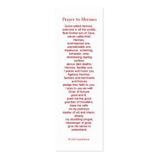 Tarjeta del rezo de Hermes Tarjetas De Visita Mini