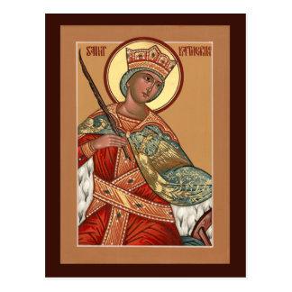 Tarjeta del rezo de Katherine del santo Postal