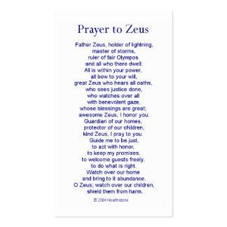 Tarjeta del rezo de Zeus Tarjetas De Visita