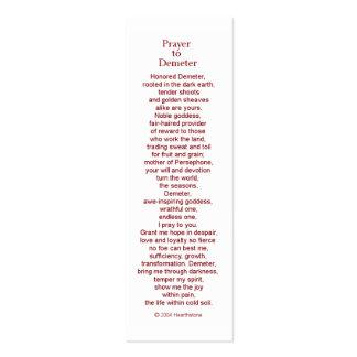 Tarjeta del rezo del Demeter Tarjetas De Visita Mini