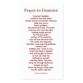 Tarjeta del rezo del Demeter Tarjetas De Visita