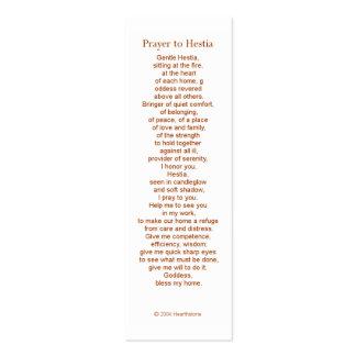 Tarjeta del rezo del Hestia Tarjetas De Visita Mini
