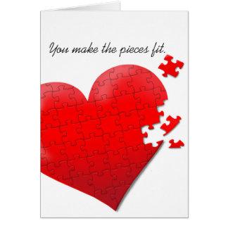 tarjeta del rompecabezas del corazón del amor